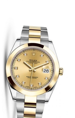 Datejust 41 Rolesor Yellow Smooth / Oyster / Champagne Diamond