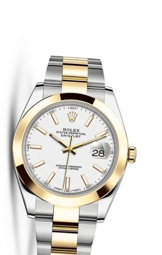 Datejust 41 Rolesor Yellow Smooth / Oyster / White