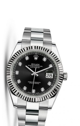 Datejust 41 Stainless Steel Fluted / Oyster / Black Diamond