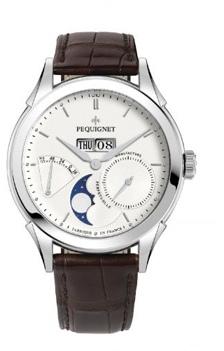 Rue Royale Moonphase Stainless Steel / Silver / Brown Alligator