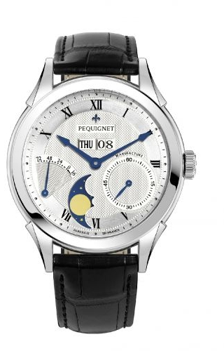Rue Royale Moonphase Stainless Steel / Silver Guilloche / Black Alligator