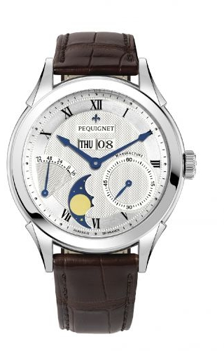 Rue Royale Moonphase Stainless Steel / Silver Guilloche / Brown Alligator
