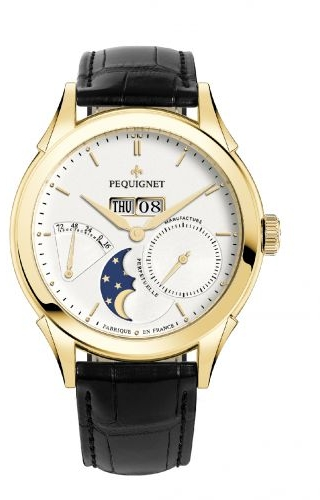 Rue Royale Moonphase Yellow Gold / Silver / Black Alligator